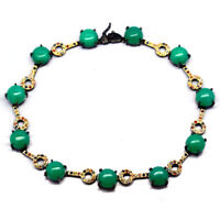NATURAL GREEN CHRYSOPRASE & SAPPHIRE 925 STERLING SILVER NECKLACE BLACK GOLD