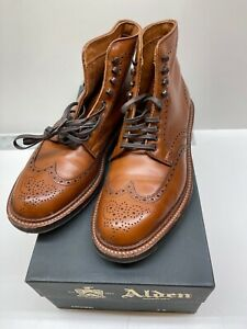 Alden Men's 44623HC Wing Tip Boot Burnished Tan Calfskin Leather Sole Size 7 E