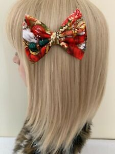 Christmas Santa Claus hair bow clip rockabilly pin up girl retro vintage