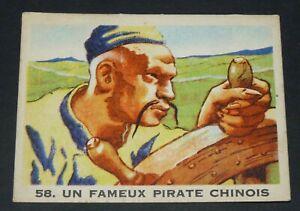 RARE CHROMO GLOBO GOMME A MACHER 1935 SERIE PIRATES #58 PIRATE CHINOIS KOXINGA
