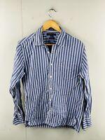 Tommy Hilfiger Men's Vintage Long Sleeve Button Up Shirt Size M Blue Stripe