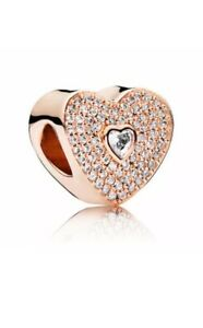 BEAUTIFUL ROSE GOLD HEART CHARM CUBIC ZIRCONIA COMES WITH A VELVET GIFT POUCH