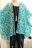 Profile Boho NWT Artsy Funky Floral Lightweight Flowy Kimono Top Plus ONE SIZE