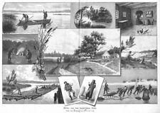Masuren, Mazury, Polen, zehn Ansichten, Original-Holzstich von 1892