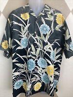 Tommy Bahama Mens Med 100% Silk Camp Aloha Shirt Gray Black Ombré Floral