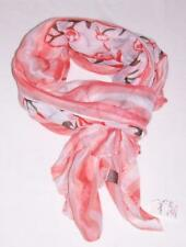 NEW D&Y DAVID & YOUNG PEACH BLACK LONG SCARF WRAP SHAWL-CHIFFON SPRING ORANGE