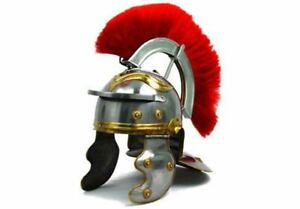 Armor Medieval Roman Helmet Fully Wearable With Leather Liner Red Plume
