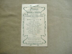 MENU' 1903 PRANZO CARAMAGNA-CUNEO IN ONORE DI CITTADINO INSIGNITO ONORIFICENZA