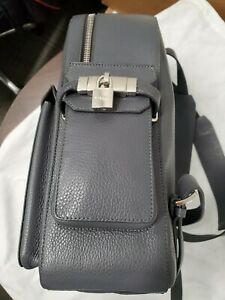 Buscemi Grey Leather Women & Men Backpack, A Holiday Gift  $2,500, Made in Italy