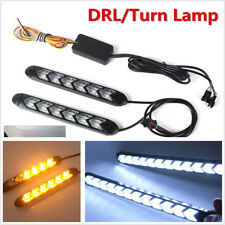 2X LED White/Amber Switchback Flexible Flow Lights Turn Signal Arrow Flasher DRL