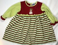 Young Colors Boutique Girls 18 Months Red Green Striped Christmas Holiday Dress