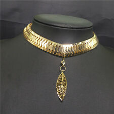 Women Gold Filled Snake Bone Solid Choker Chunky Chain Pendant Necklace