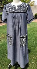 Go Softly Patio Dress Duster Muu Muu S 100% Cotton Gray w/Beads & Embroidery NWT