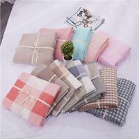 Washed Linen Cotton Blend Bed Sheet Set Stripe plaid solid color bedsheet soft