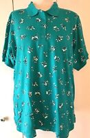 Woman Within Polo Shirt Tunic, 1X (22-24) Green Floral Elbow Length Sleeves  NWT