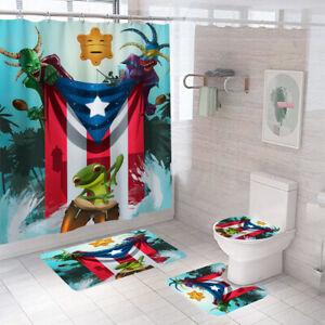 Flag Shower Curtain Bathroom Rug Set Thick Bath Mat Non-Slip Toilet Lid Cover