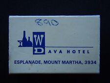 DAVA HOTEL ESPLANADE MOUNT MARTHA 059 751555 DINERS CLUB INTERNATIONAL MATCHBOX
