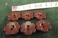 vintage 6 Brown Flowers buttons