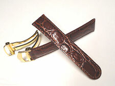 20 mm 20mm Brown Leather Band Strap with Gold Stainless Steel Deployment Clasp