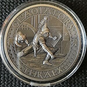 "Solomon Islands 2017 The Gladiators ""THRAEX""  2 oz Antique Finish Silver Coin"