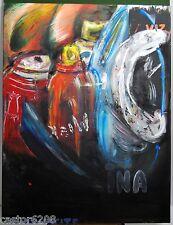 GOUACHE ART CONTEMPORAIN INA 65x50 cm dessin ROESCH