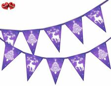 Christmas Tree reindeer purple snowflakes Bunting Banner 15 flags by PARTY DECOR