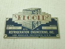 Vintage Recoid Refigeration Engineering Inc LA Emblem Ornament Sign Badge Trim