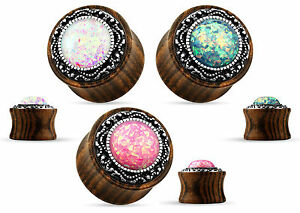PAIR Synthetic Opal w/Tribal Pattern Casting Wood Saddle Plugs Body Jewelry