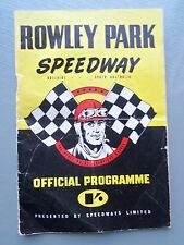 MEETING NUMBER 10 1958 - 1959 SEASON SPEEDWAY OFFICIAL PROGRAM ROWLEY PARK