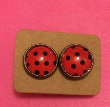 Retro vintage shabby chic Red Polka Dot Ladybug kitsch Quirky stud earrings Gift