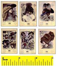 6 Miniature French Bonnet Hats Prints - Dollhouse 1:12 scale