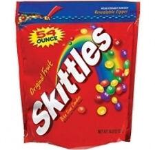 New listing Skittles Original Fruit Bulk Candy 54 oz Ziploc Zipper Resealable Bag American