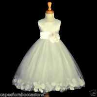 IVORY COMMUNION PAGEANT EASTER WEDDING PETAL FLOWER GIRL DRESS 12-18M 2 4 6 8 10