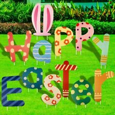 Fangoo 12 Pieces Easter Yard Signs Decorations Outdoor, Happy Yard.