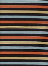 Fabric Black Yellow Blue Orange Stripe 1+ Yard