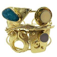 Tribal Brass Cuff Bracelet Resin Pour Gold Plated Wire Wrap Boho Fashion Jewelry