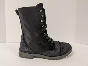 Blue Suede Shoes Combat Boots, Black Velvet, Womens 6.5 M