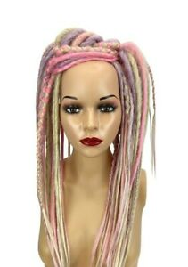 Pastel & Blonde Mix Dread Falls, Hair Pieces, 20 Inches, Unisex. Lilac, Pink