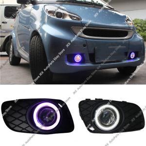 DRL Fog Lamps + Lens COB Angel Eye Bumper Cover H For Smart Fortwo 2008-2012