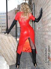 Leder Rock Lederrock Rot Zipper Wadenlang Maßanfertigung