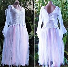 Women's Fairy Dress Party Costume with Sleeves & Wings  - WHITE wth PETAL SKIRT