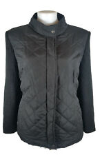 AUTOGRAPH Jacket - Black Quilted Rib Knit Knitted Zip Collar Casual Active - 20