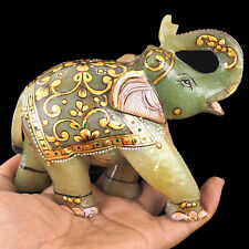 3890 Cts Natural Aventurine Quartz Carved Elephant Sculpture Beautiful Gemstone