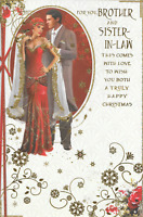 BROTHER & SISTER IN LAW CHRISTMAS CARD,ART DECO,GOLD GLITTER,9 X 6 INCH (CC8)