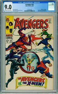 AVENGERS #53 CGC VF/NM 9.0 BATTLE X-MEN MAGNETO TOAD COMIC 1968