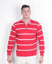 Pierre Cardin Men's M Jumper Red Striped Cotton Casual Sweater