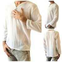 Men's White Shirt 100% Cotton Summer Hippie Shirt V-Neck Casual Beach Yoga Top
