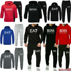 2Pcs Men's Tracksuit Set Hoodies Sweatshirt Pants Bottoms Sport Jogging Suit UK