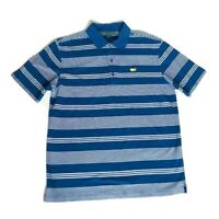 Masters Collection Mens M Blue Stripe Polo Shirt Short Sleeve Golf Pima Cotton
