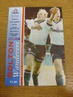 16/10/1993 Bolton Wanderers v Millwall  (team changes). Footy Progs (aka bobfran